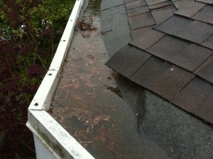 AquaSeal gutter cleaning project - hidden gutter system / built-in gutter system is completely overwhelmed with water and debris. This Surrey home has significant water damage because of it.