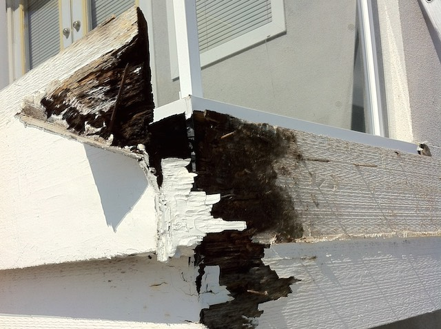 Rotten sub-fascia board - hidden gutter repair - built-in gutter repair